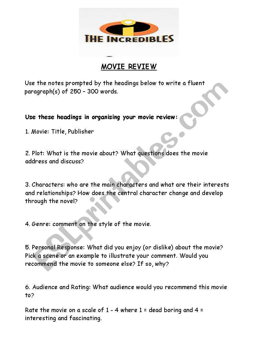 Movie review template - ESL worksheet by aidspence
