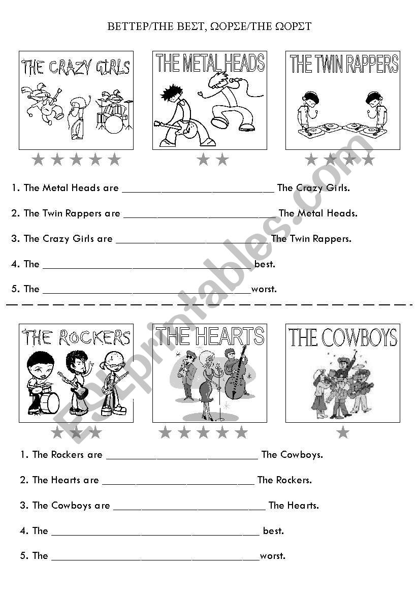 Better/best/worse/worst - ESL worksheet by navillus
