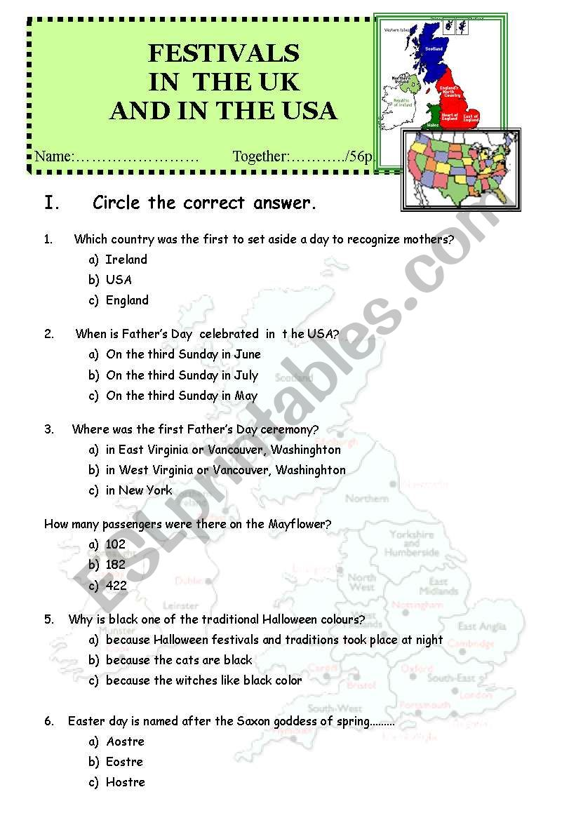 British culture contest worksheet