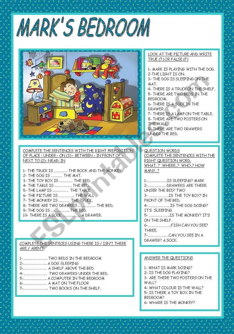 MARK´S BEDROOM worksheet