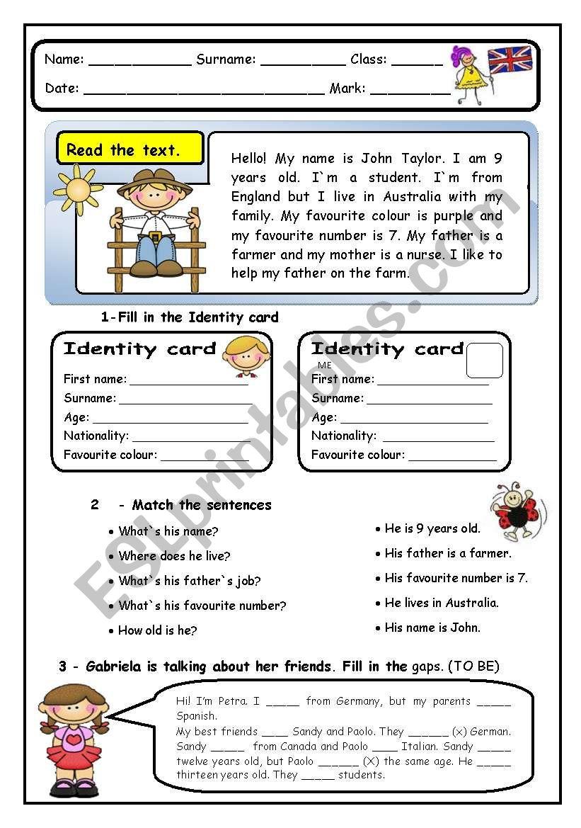 Elementary End of Term Test worksheet