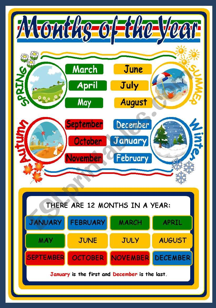 months and seasons poster esl worksheet by xani. Black Bedroom Furniture Sets. Home Design Ideas