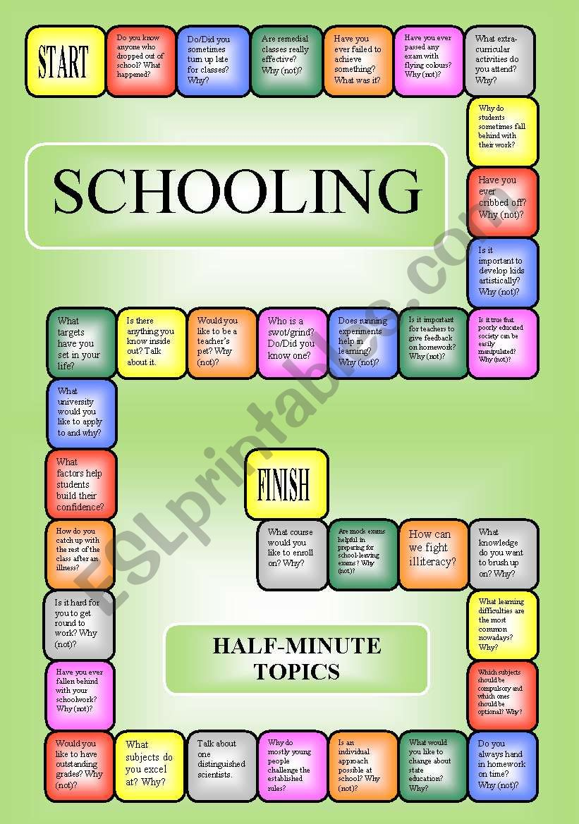 Schooling - boardgame or pairwork (34 questions for discussion)