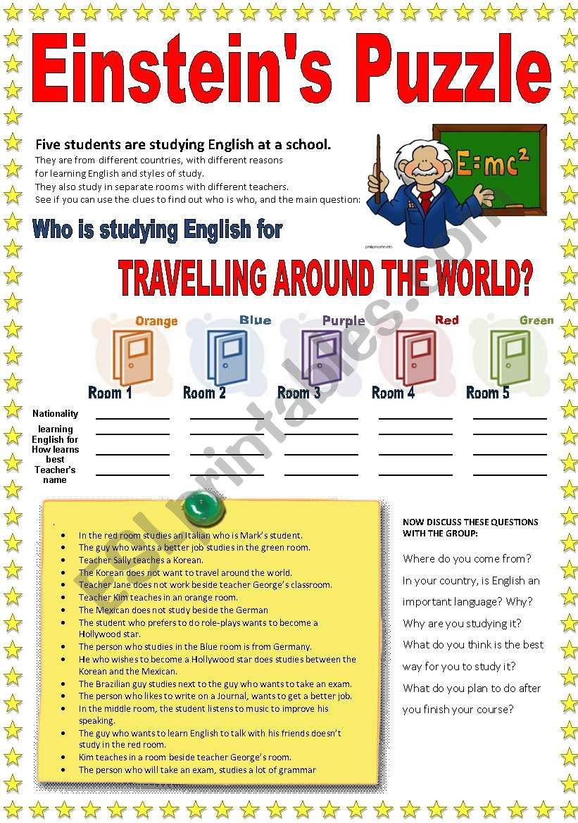 PUZZLE: Who´s learning English for travelling around the world?