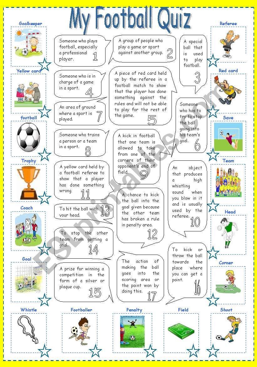 My Football Quiz Esl Worksheet By Mouna Mch