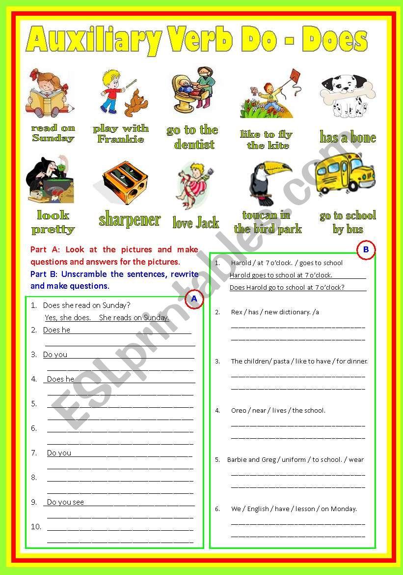 Auxiliary Verbs (B/W & Keys) worksheet