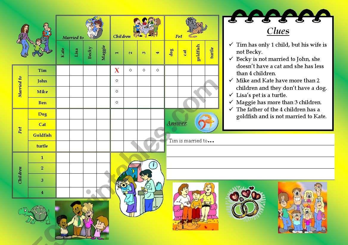 logic game 1 - family worksheet