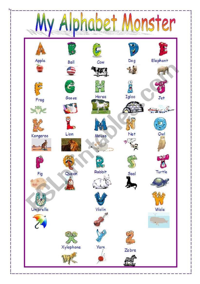 My Alphabet Monster - A or An worksheet