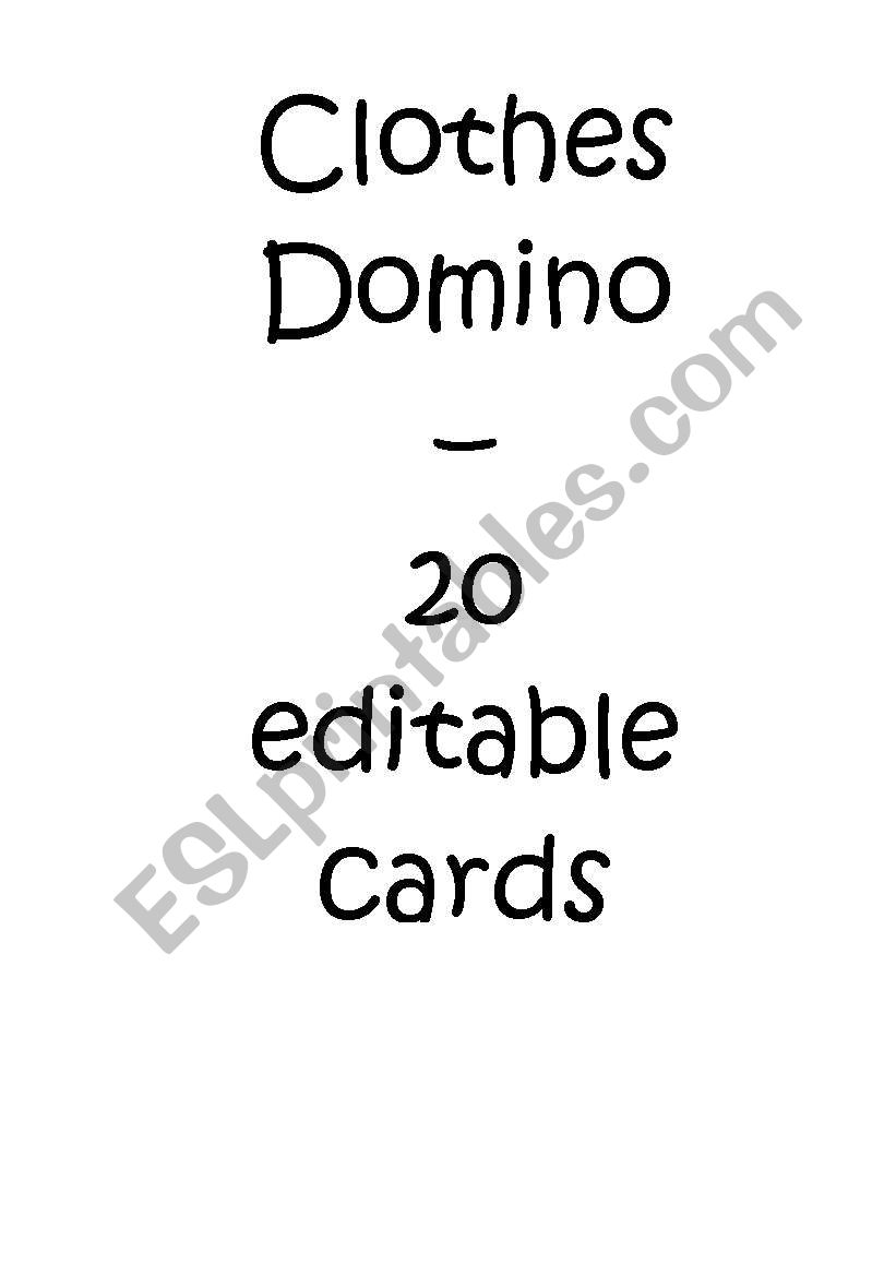 clothes domino / dominoes worksheet