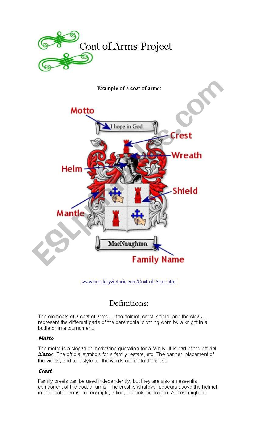 Coat Of Arms Project Esl Worksheet By Carla Horne