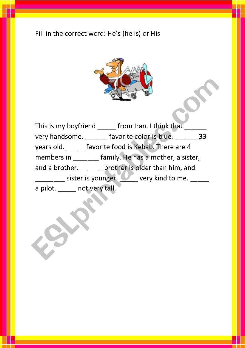 His vs. He´s. worksheet