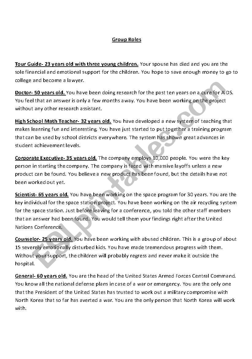 Earthquake ROle Playing Game - ESL worksheet by ACES2010