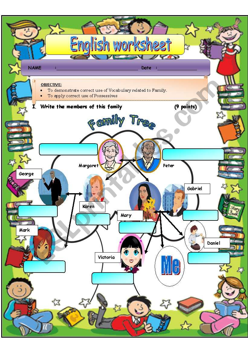 Family and Possessives worksheet