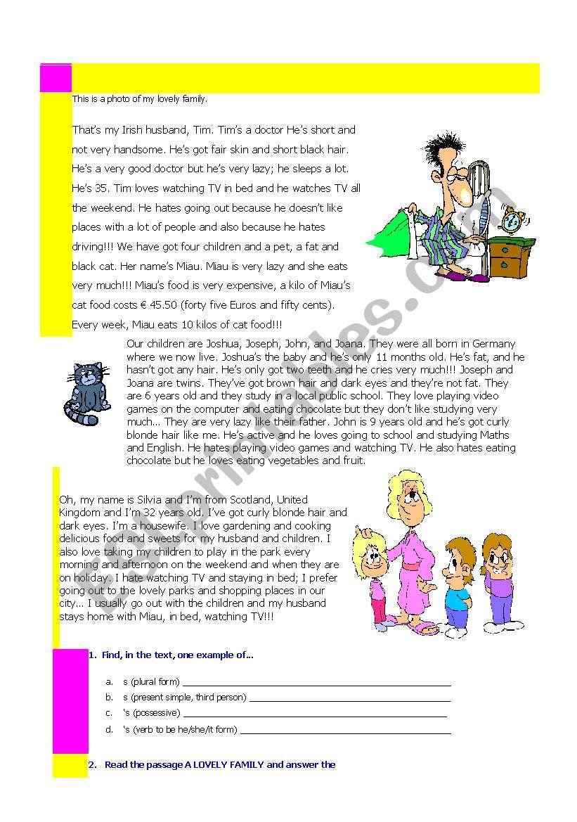 A Lovely Family worksheet