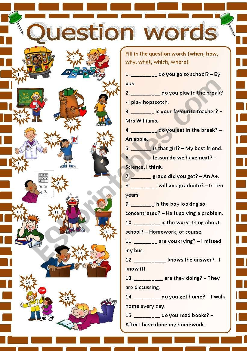 Question words worksheet