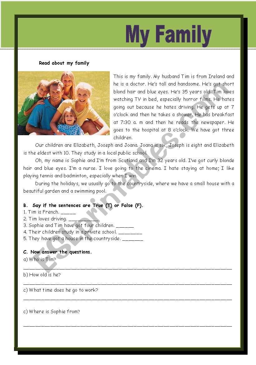 My Family - ESL worksheet by morganalin