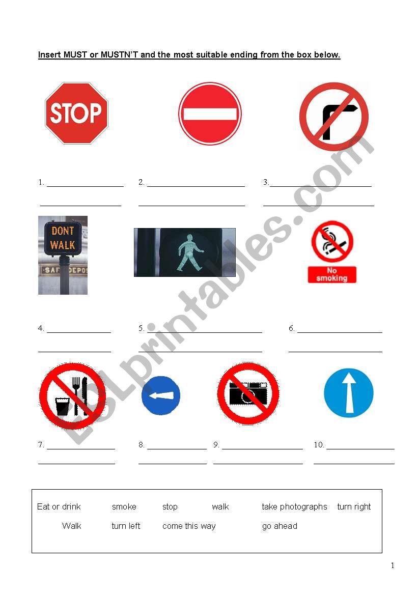 Signs (Must / Mustn´t) worksheet