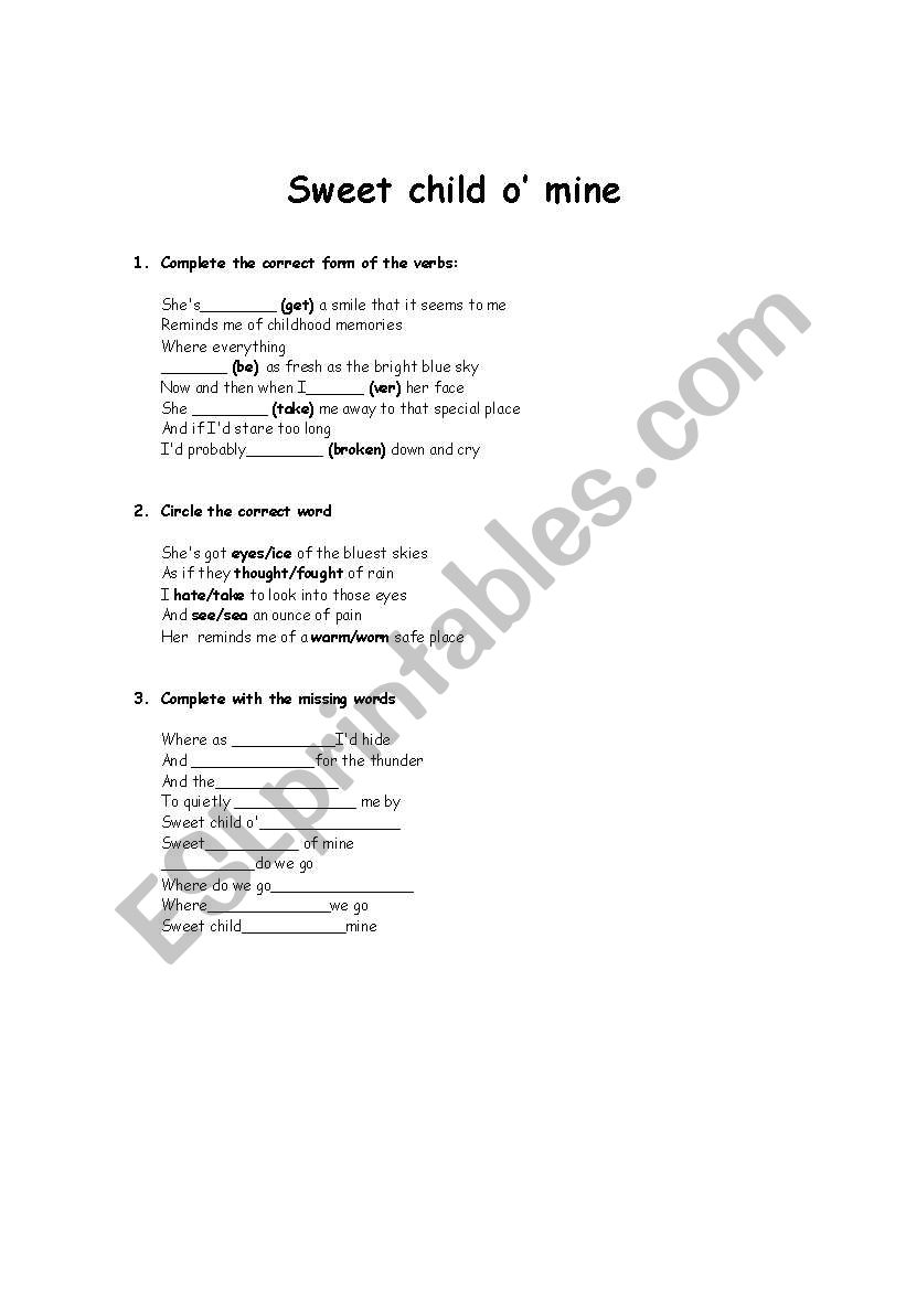 sweet child o´mine  worksheet