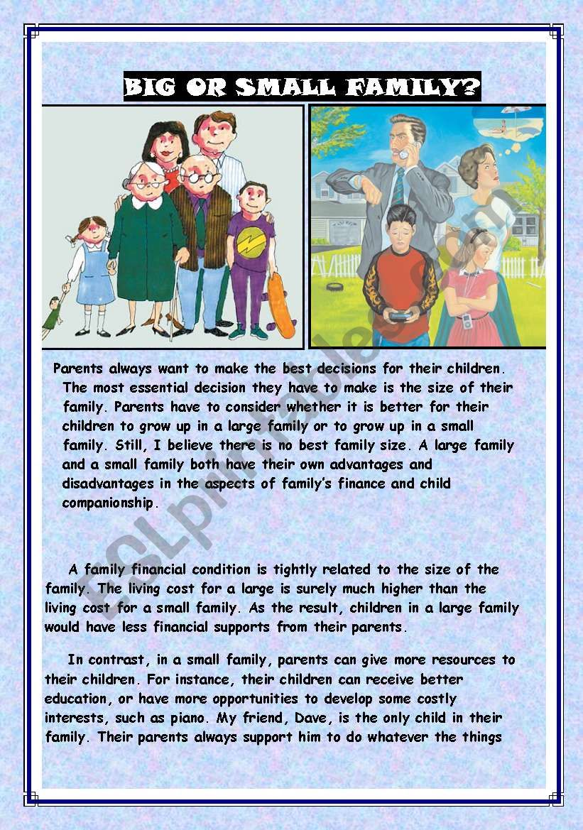 big or small family - ESL worksheet by Adel A