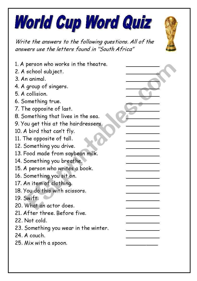 World Cup Word Quiz Esl Worksheet By Fenderbaum