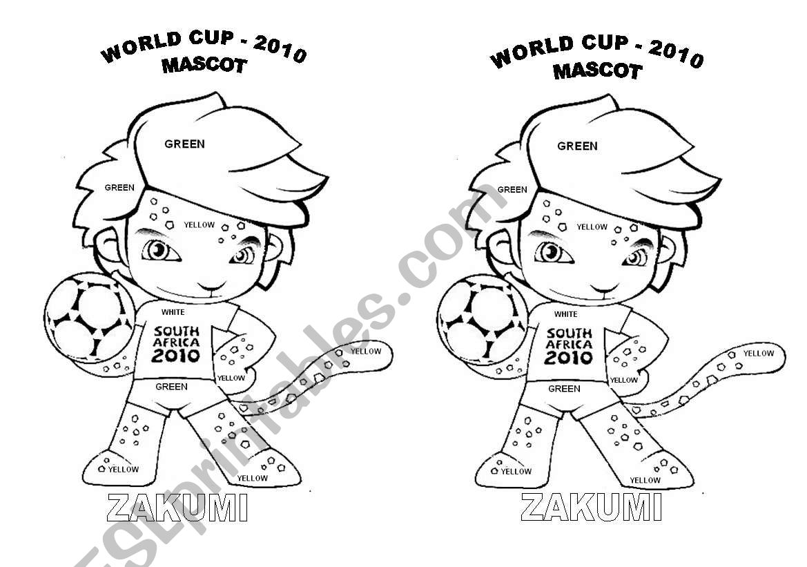 World cup 2010 mascot worksheet