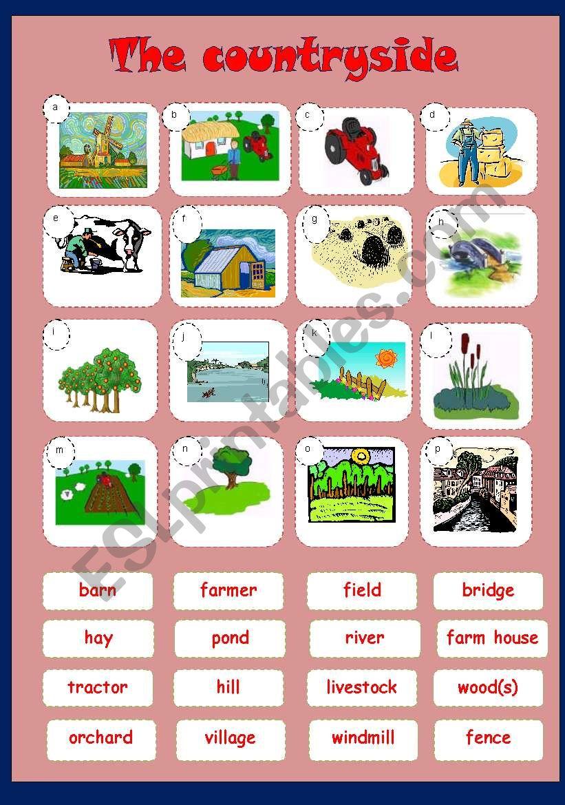 Countryside - matching worksheet