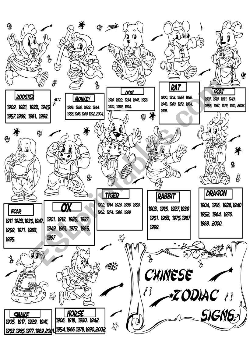chinese zodiac signs  worksheet