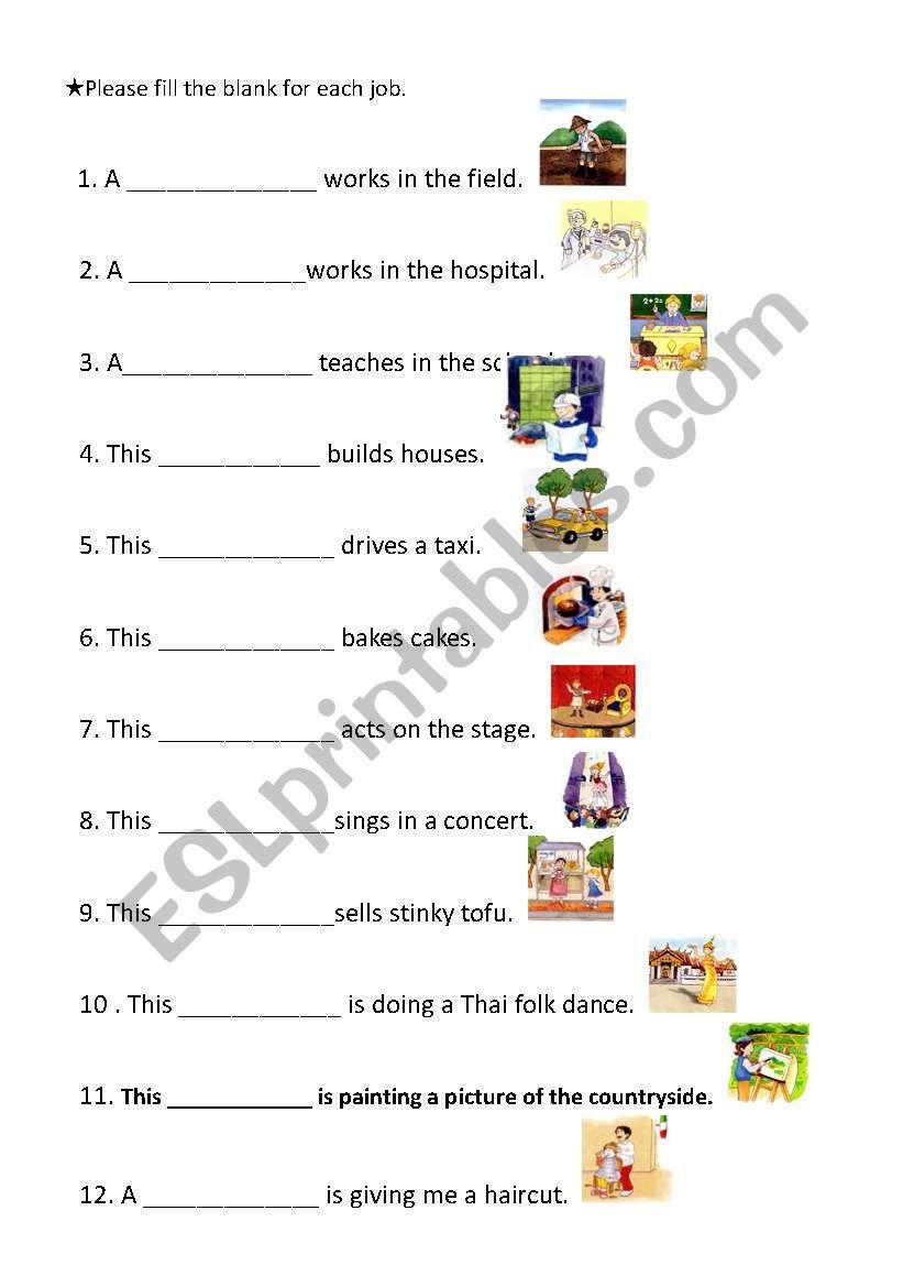English worksheets: Occupation worksheet