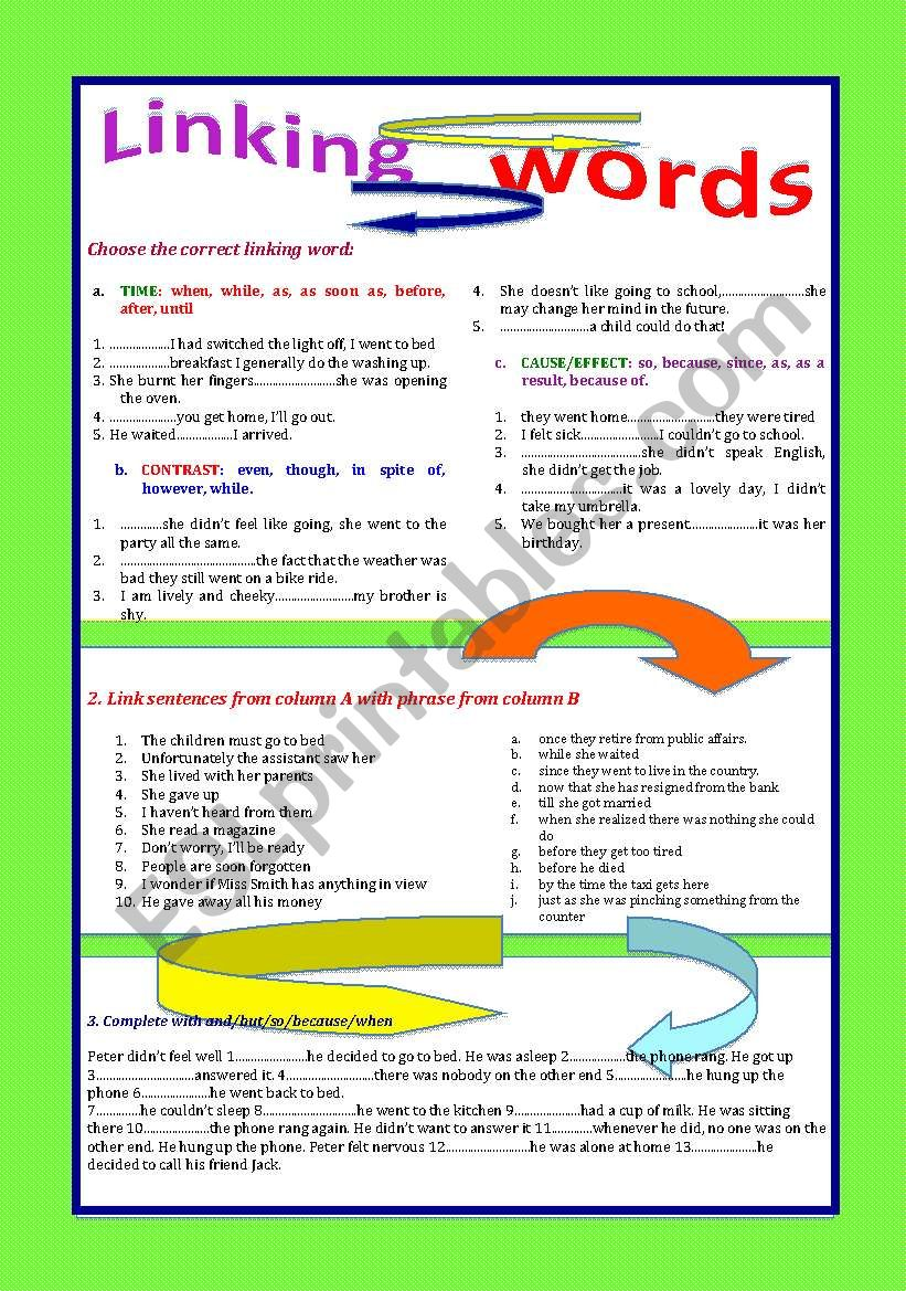 Linking Words Esl Worksheet By Patties