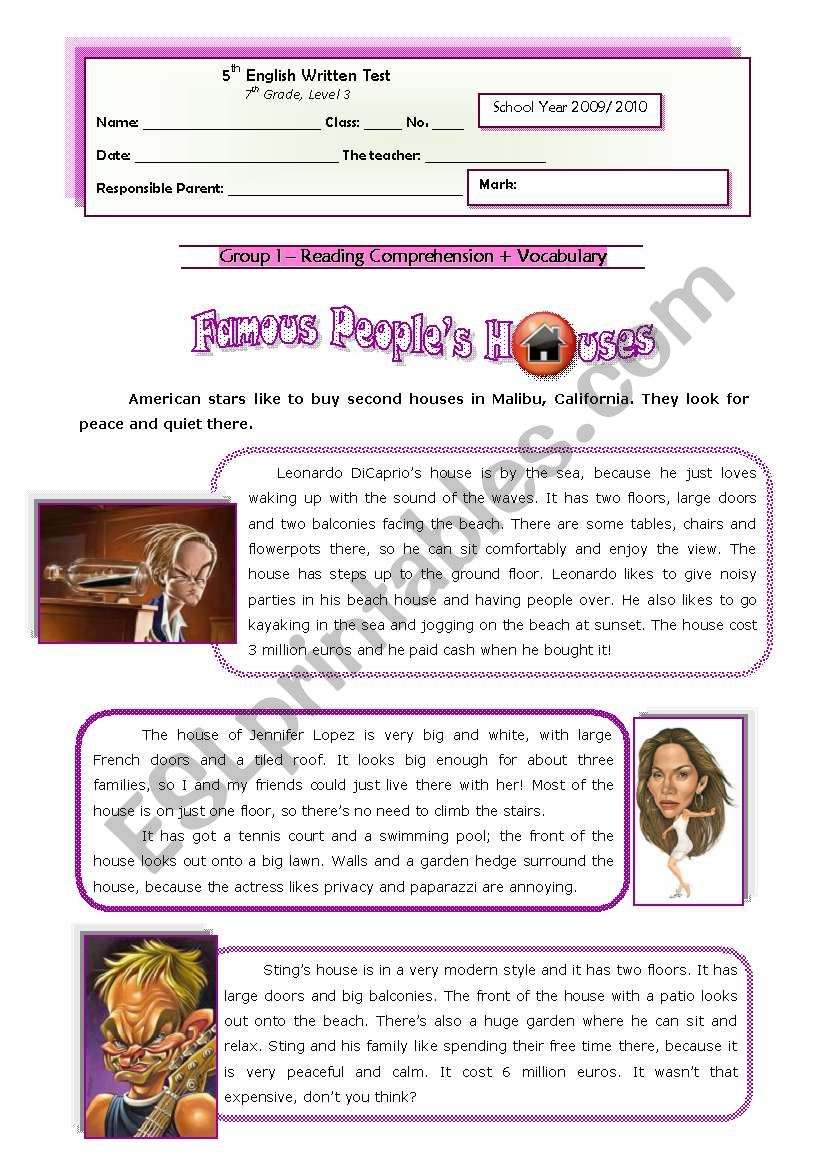 Famous People Houses (1 of 2) worksheet