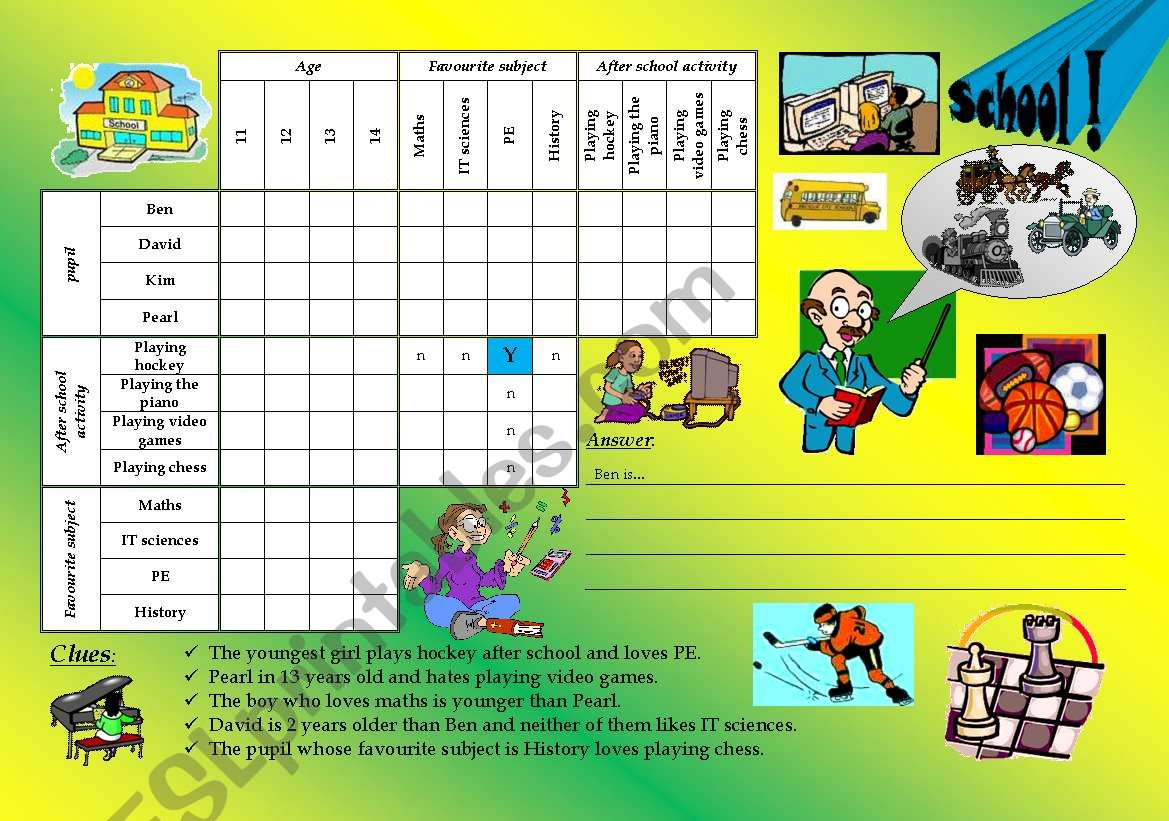 logic game 7 - school worksheet