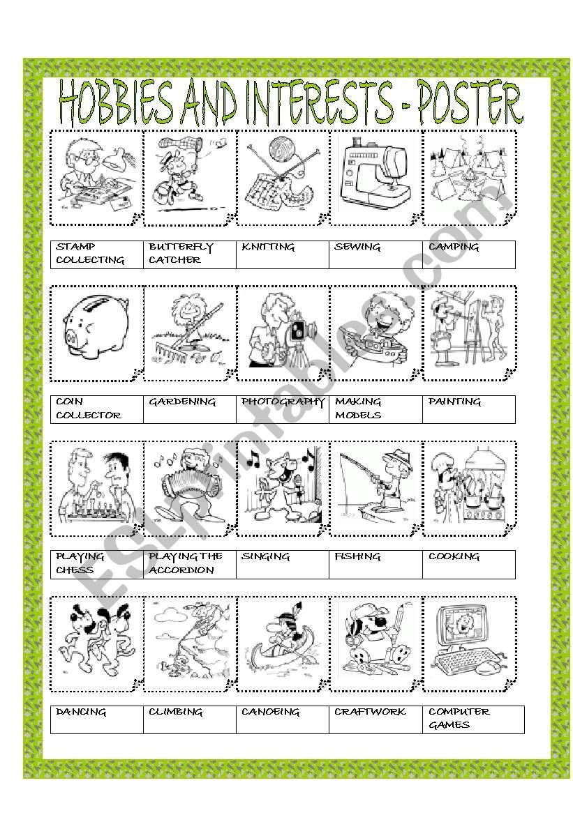 HOBBIES AND INTERESTS - POSTER