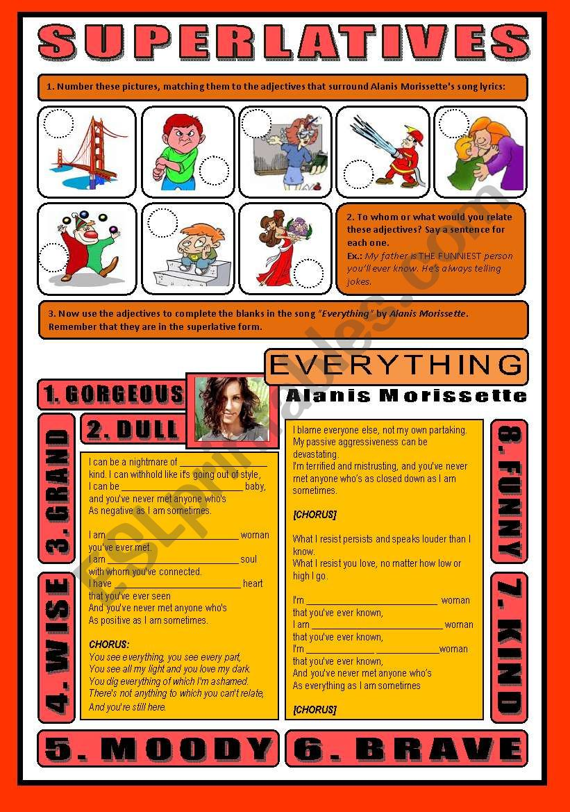 SONG ACTIVITY - Everything (By Alanis Morissette) - SUPERLATIVES (+Key)