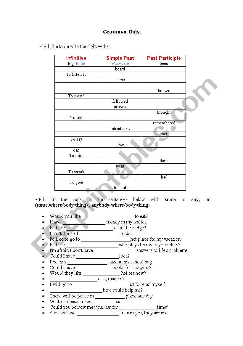 Verbs and Prepositions worksheet