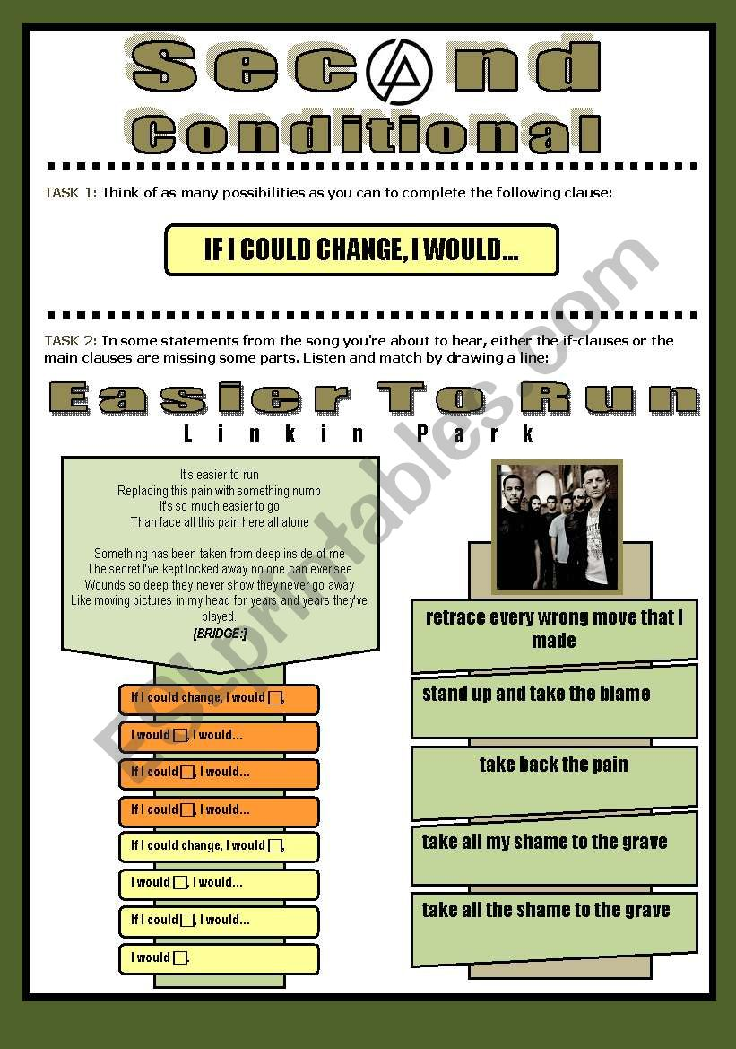 SONG ACTIVITY - Easier To Run (By Linkin Park) - Second Conditional