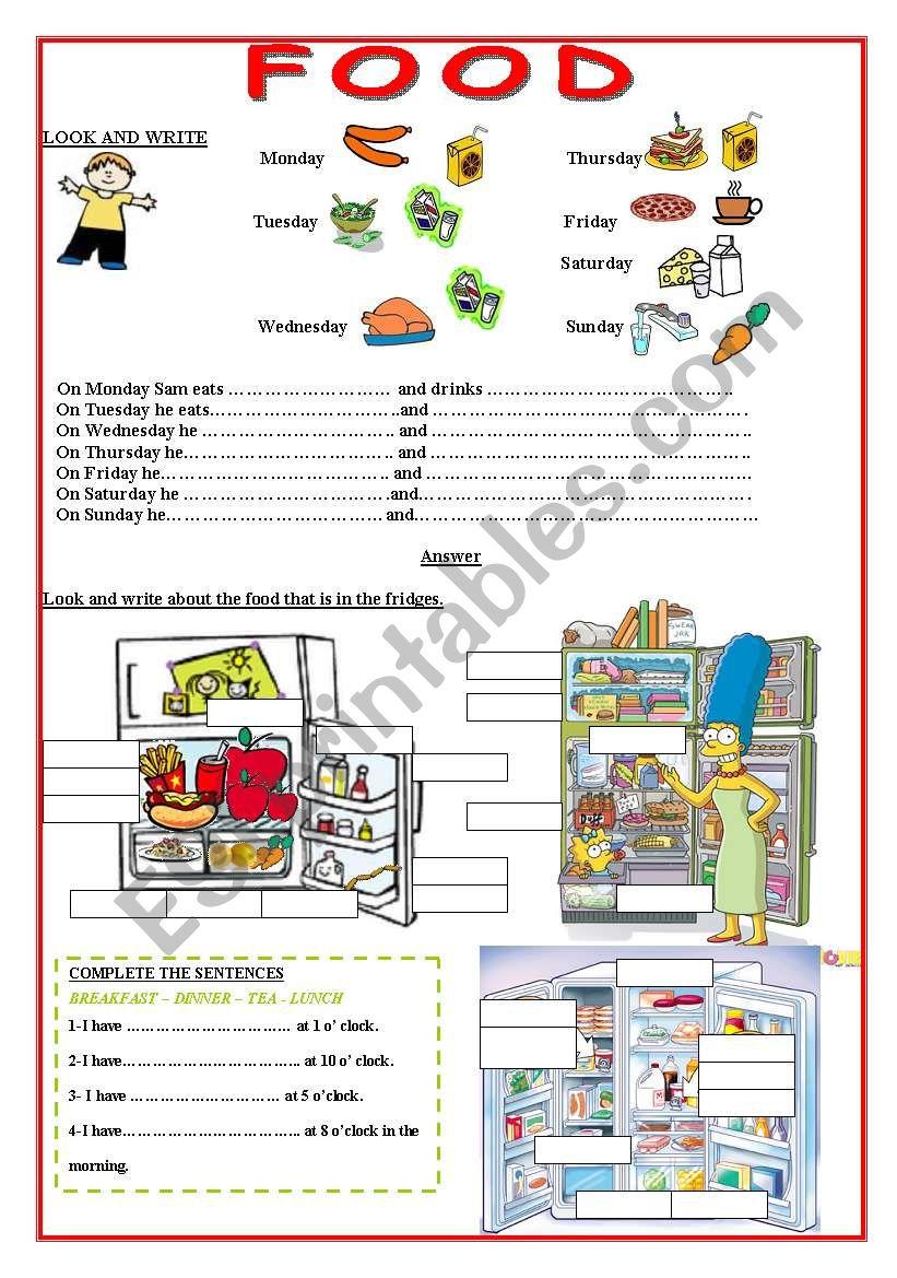 Food- Meals worksheet