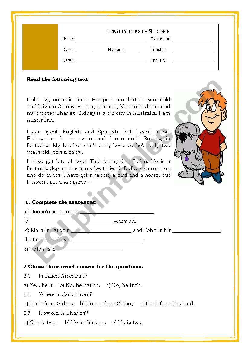5th GRADE TEST worksheet