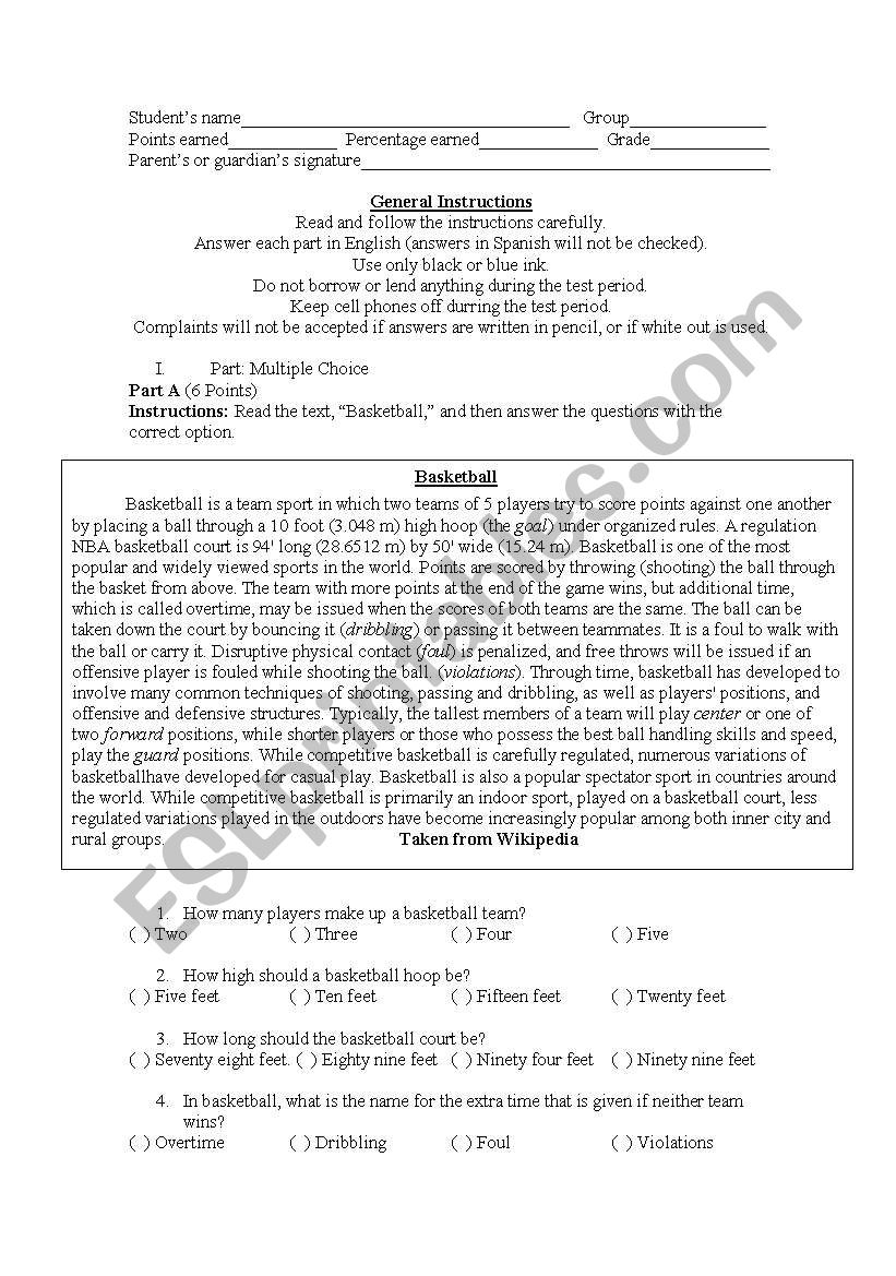 Hobbies and Sports Test worksheet