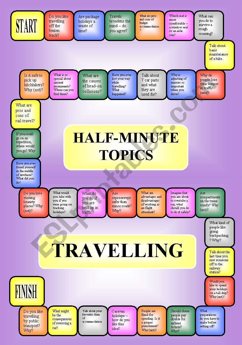 Travelling - a boardgame or pairwork (34 questions for discussion)