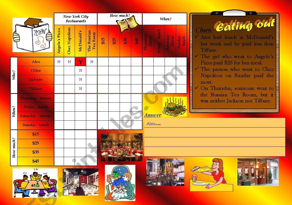 logic game 8 - eating out worksheet
