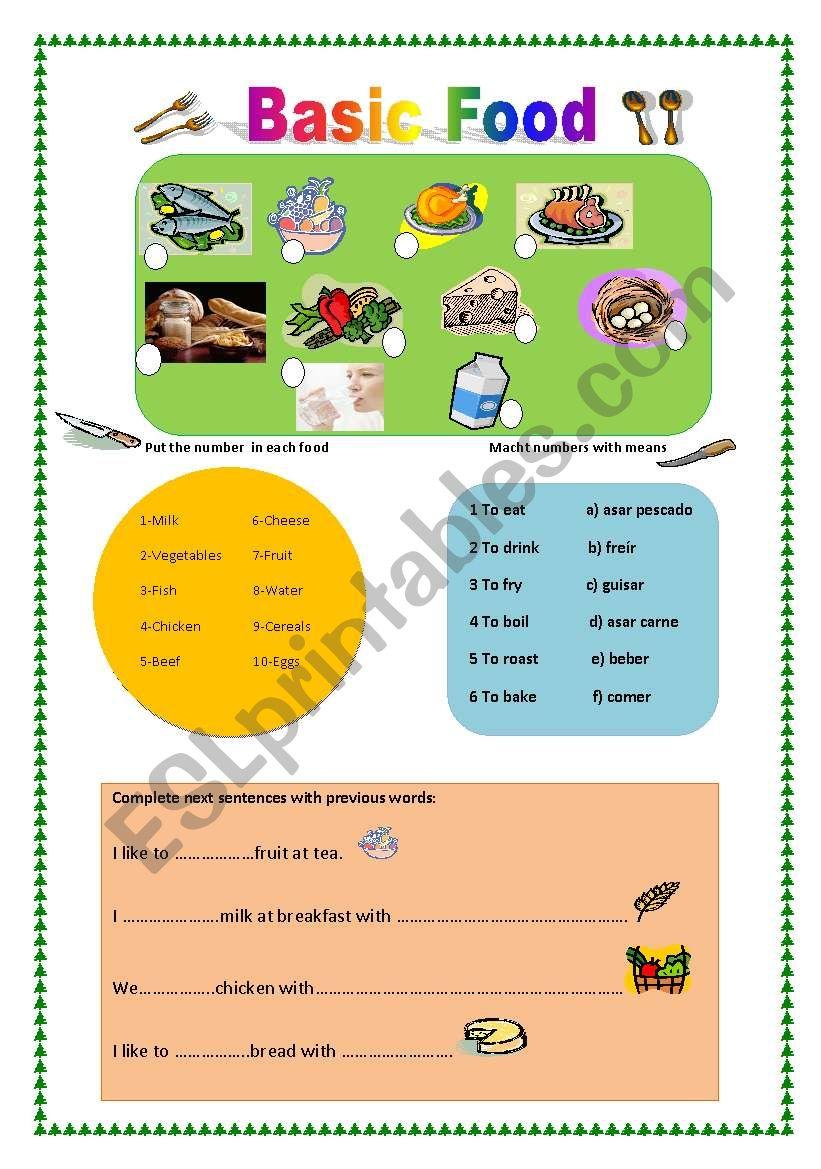 Basic Food worksheet