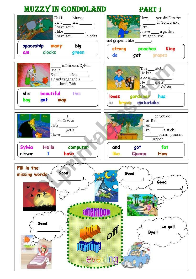 Muzzy in Gondoland  Part 1 - 5 exercises - 2 pages - editable