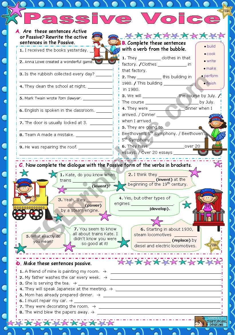 Passive Voice (one object)  worksheet