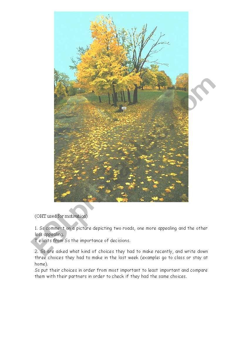 the road not taken robert frost esl worksheet by athenna. Black Bedroom Furniture Sets. Home Design Ideas