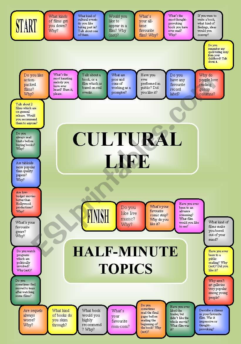 Cultural life - a boardgame or pairwork (34 questions for discussion)