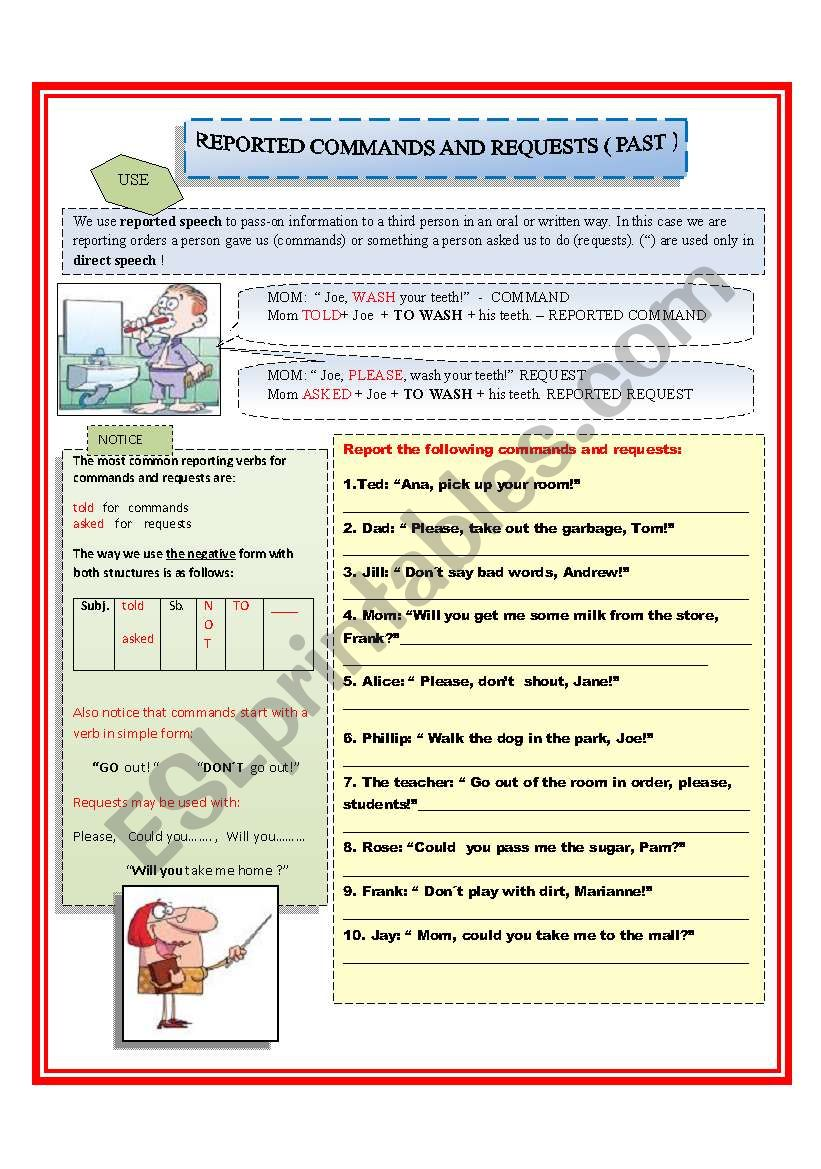 Reported Sch ESL Activities Games Worksheets also Reported Sch  Statements  Questions and  mands Worksheet in addition Reported requests and  mands    ESL worksheet by ildibildi further Imperative Sentence  Definition   Ex les   Video   Lesson furthermore Identifying a Sentence as a Statement   mand  Question  or likewise Rearranging jumbled words to make sentences as well REPORTED  MANDS AND REQUESTS   PAST     ESL worksheet by kiaras additionally Reported Sch Transformations  Statements  Questions   mands moreover  furthermore Imperative Sentence  Definition   Ex les   Video   Lesson furthermore REPORTED  MANDS   ESL worksheet by nikabike likewise sentence structure worksheets middle besides Requests   ESL worksheet by alf30 besides Statement   mand  Question  Exclamation song   YouTube in addition mon Worksheets A Subject Verb Agreement Printable 9th Grade Quiz further Sentence worksheets for 2nd grade   Download them and try to solve. on command and request sentence worksheets