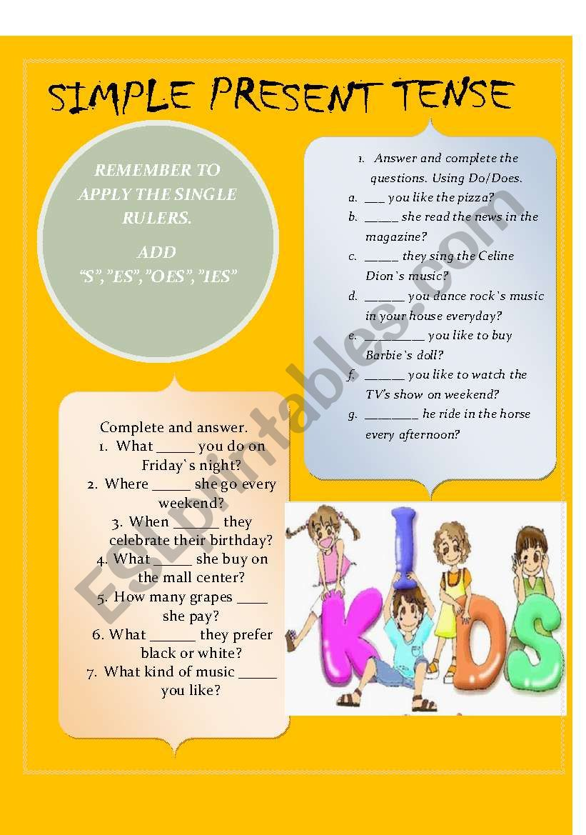 Simple Present Tense Esl Worksheet By Cadecasg
