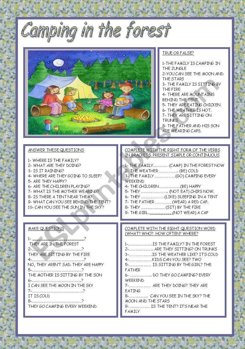 CAMPING IN THE FOREST worksheet