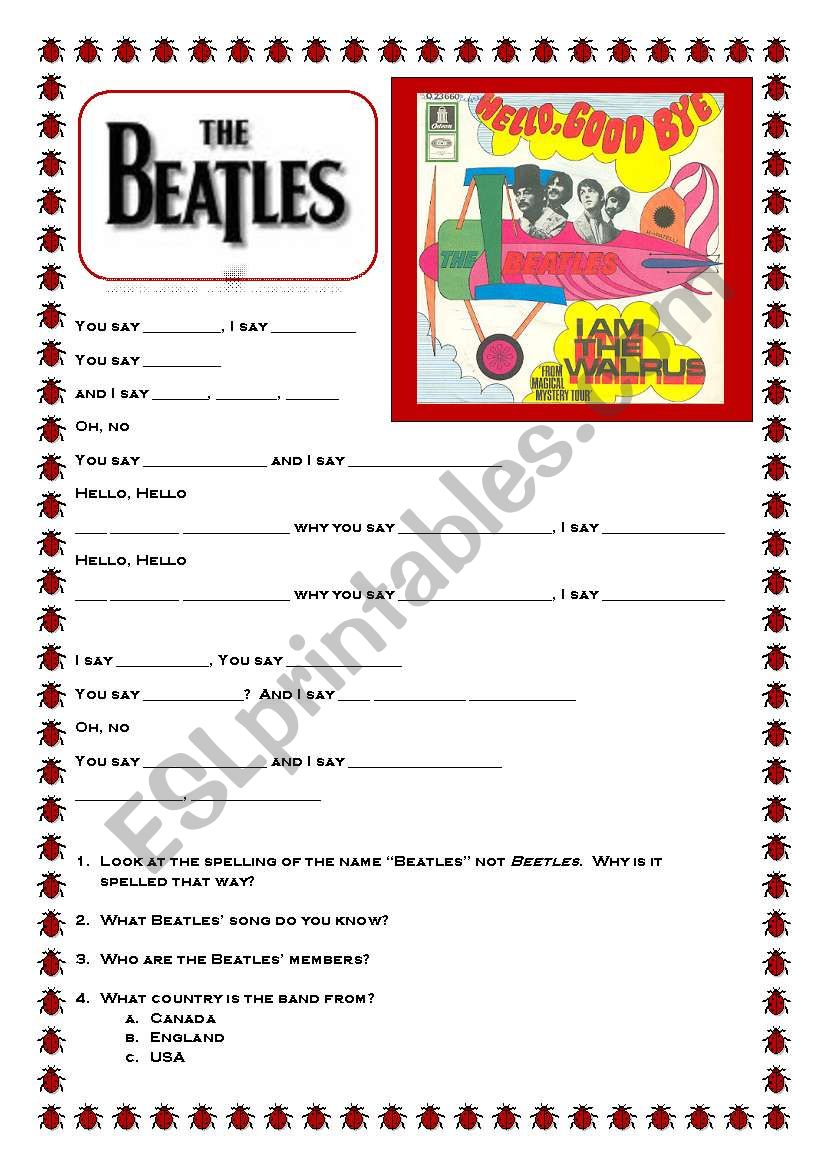 Beatles: Hello, Goodbye worksheet