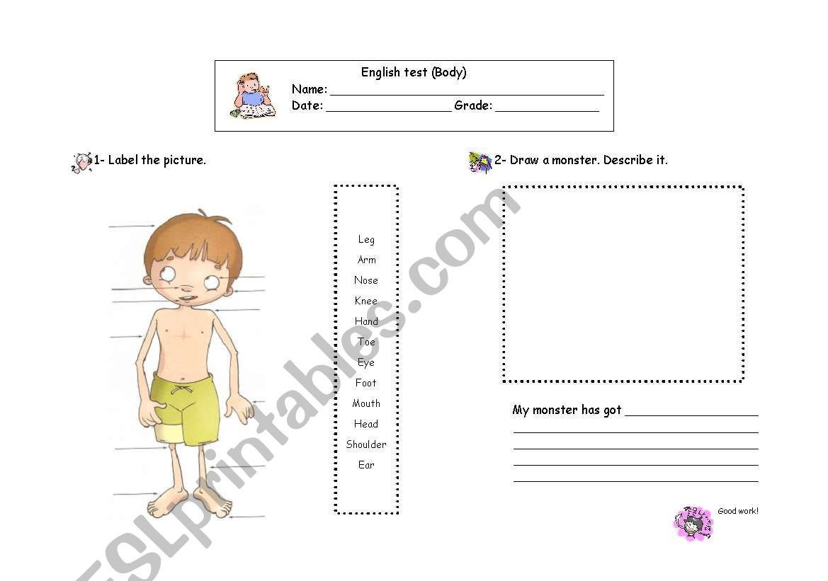 English test (body) worksheet